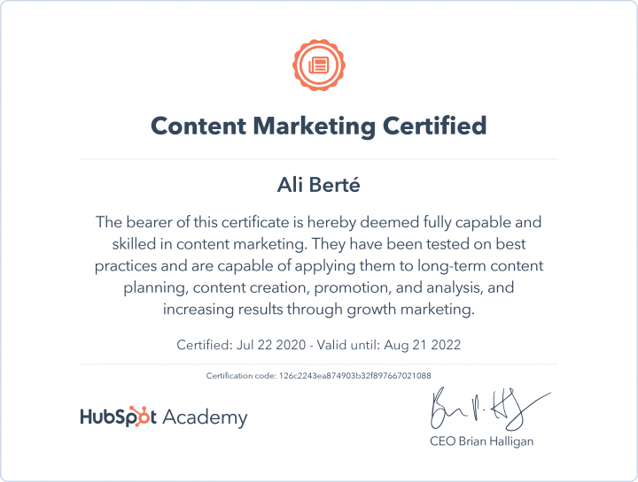 Content Marketing Certified by HupSpot Academy