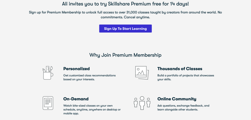 Ali invites you to try Skillshare Premium free for 14 days!
